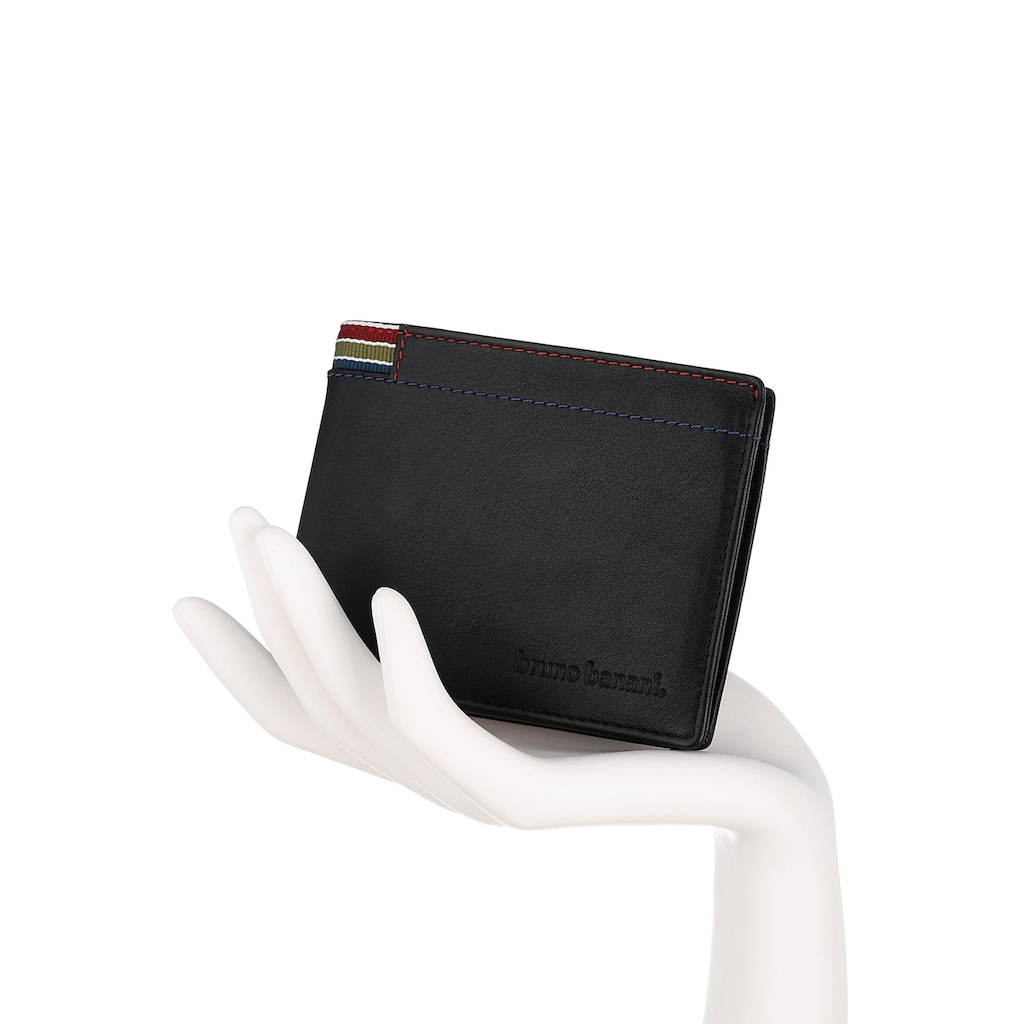Bruno Banani Geldbörse, aus echtem Rindsleder mit bunten Ziernähten