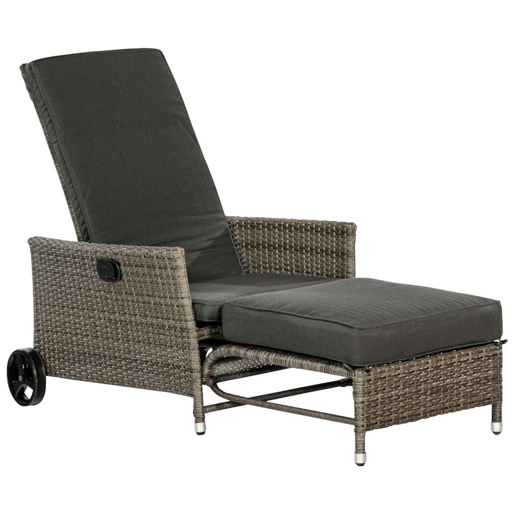 MERXX Gartensessel »Komfort Deckchair«, Stahl/Kunststoff, inkl. Auflagen