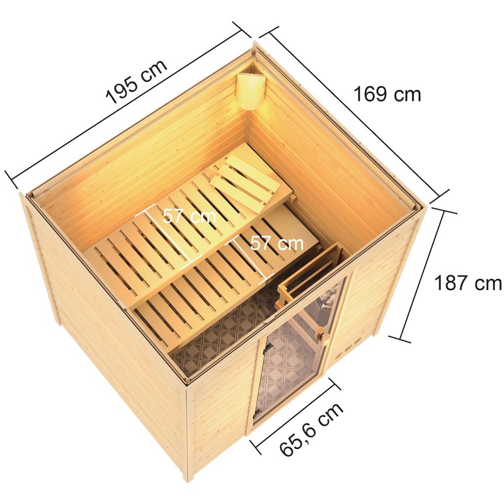 Karibu Sauna »Ricky«, 4,5-kW-Bio-Ofen mit ext. Steuerung
