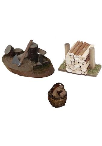 Alfred Kolbe Krippen - Zubehör »Hackstock, Holzstoß, Korb mit Holz« (Set, 3 Stück) kaufen