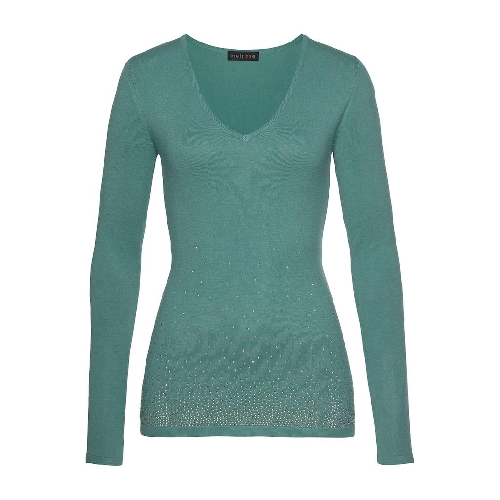 Melrose V-Ausschnitt-Pullover, mit Strassdeko