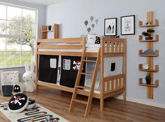 Etagenbett aus Holz mit Piratenvorhang