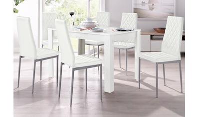 my home Essgruppe »Lynn + Brooke«, (Set, 5 tlg.), mit Tisch in Weiß, Breite 120 cm kaufen