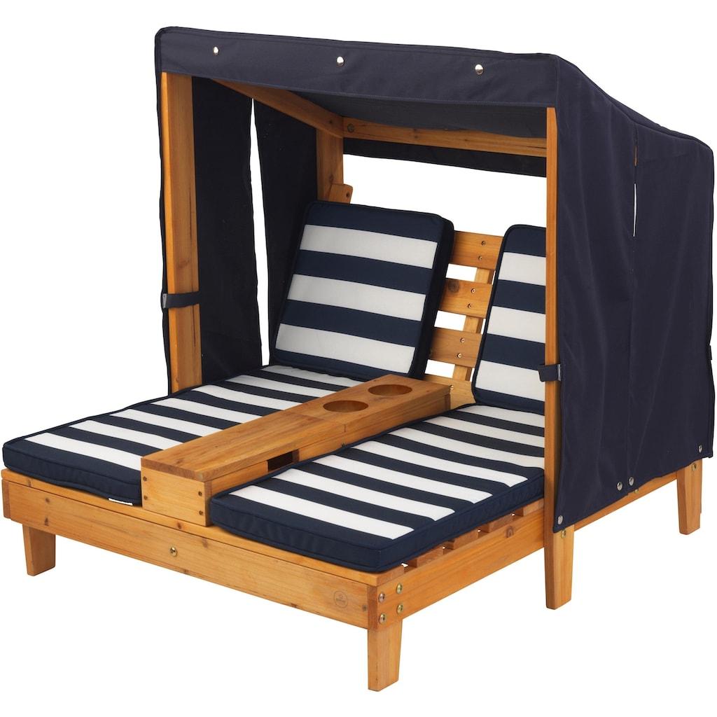 KidKraft® Kinderklappstuhl »Doppelte Sonnenliege mit Getränkehaltern, weiß-blau«