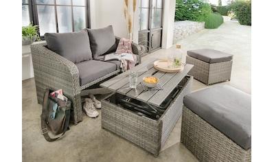DESTINY Loungeset »Jersey«, 10 - tlg., 2er - Sofa, 2 Hocker, Tisch 108x58 cm, inkl. Auflage kaufen