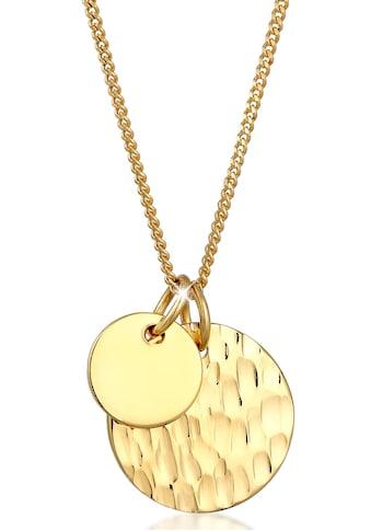 Elli Kette mit Anhänger »Halskette Plättchen Geo Gehämmert Look, 0112972019« kaufen