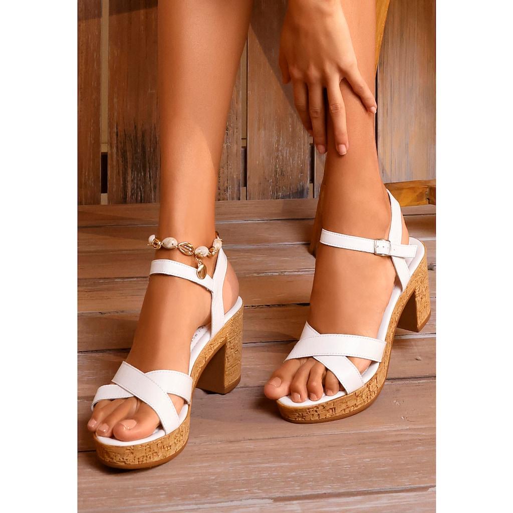 LASCANA Sandalette, aus Leder mit Blockabsatz