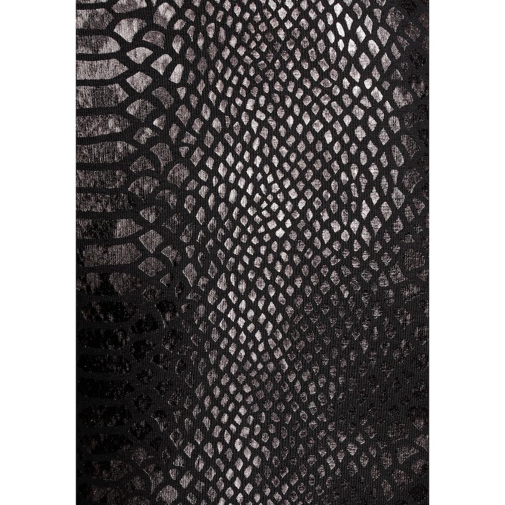 LASCANA Leggings, im Schlangenmuster mit Raffung am Bund