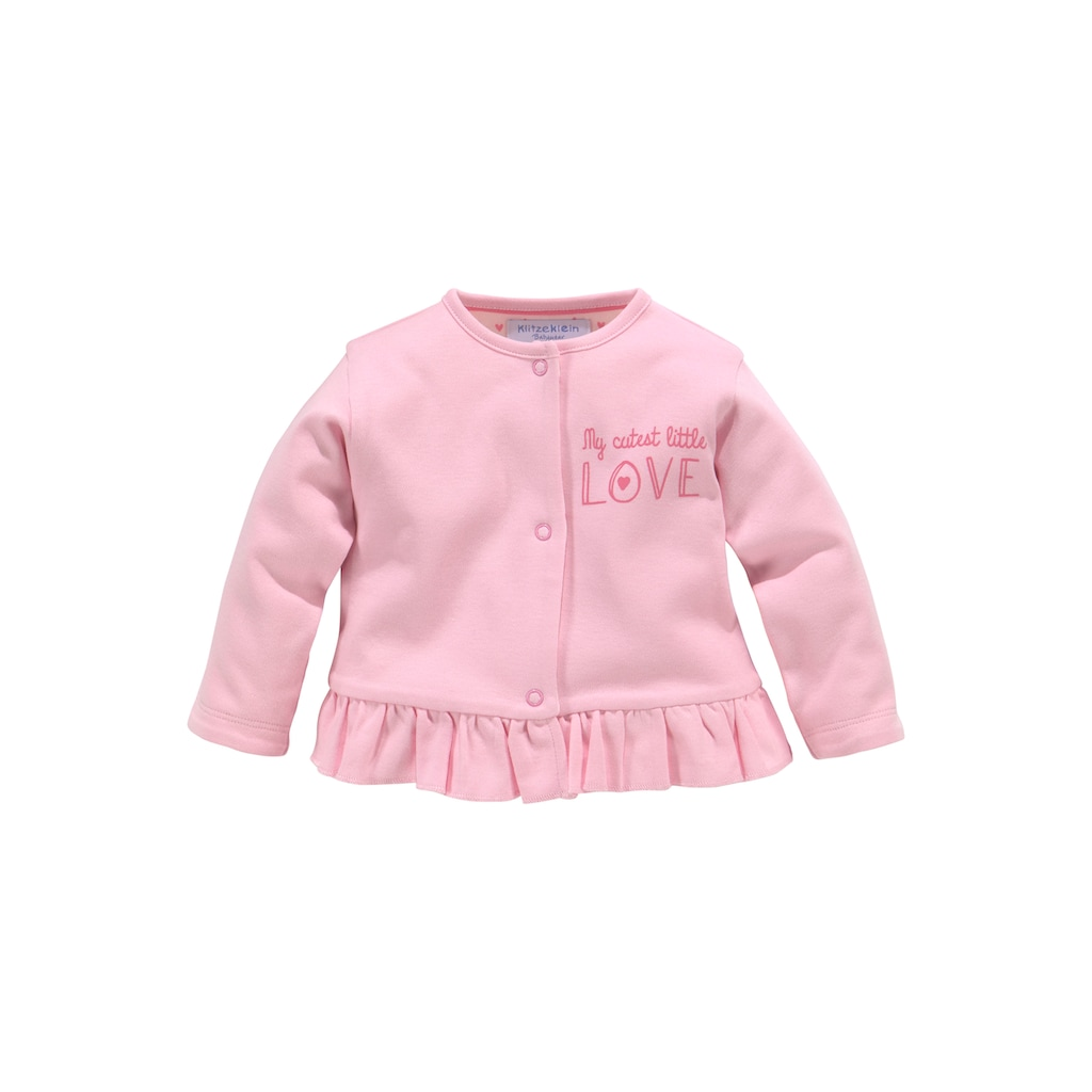 Klitzeklein Strampler, Jäckchen & Mütze »Cute Babygirl«, aus Bio-Baumwolle
