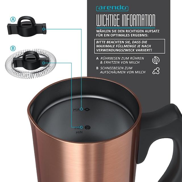 Arendo Frühstücks-Set 2-teilig im Kupfer Design »Milchaufschäumer und Edelstahl Wasserkocher«