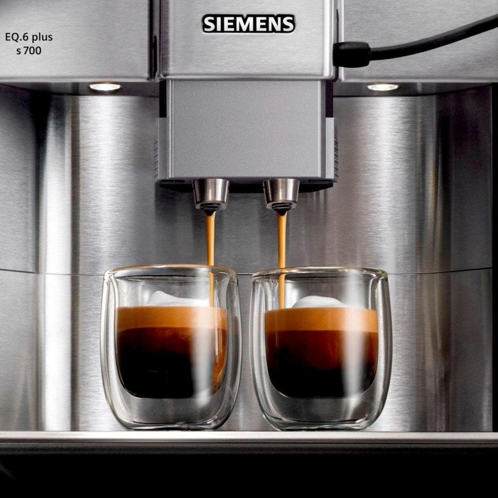 SIEMENS Kaffeevollautomat »EQ.6 plus s700 TE657503DE«, automatische Reinigung, zwei Tassen gleichzeitig, 4 individuelle Profile, beleuchtetes Tassenpodest, Edelstahl