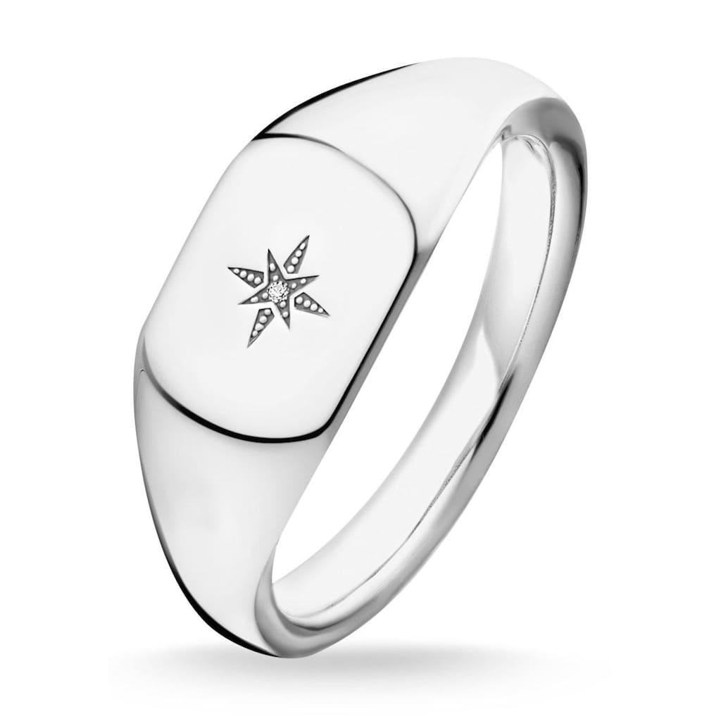 THOMAS SABO Diamantring »D_TR0038-725-14-48, 50, 52, 54, 56, 58, 60, Vintage Stern silber«, mit Diamant