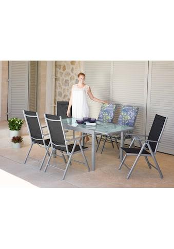 Gartenmöbelset »Lima«, 7 - tlg., 6 Hochlehner, Tisch 120 - 180 cm, Alu/Textil, schwarz kaufen