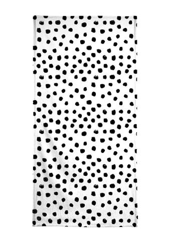 Juniqe Handtuch »Dots Black And White«, (1 St.), Weiche Frottee-Veloursqualität kaufen