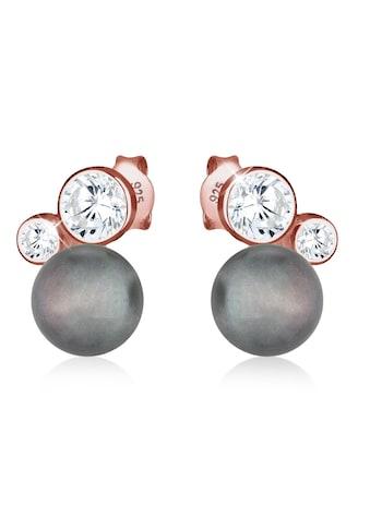 Elli Paar Ohrstecker »Süßwasserzuchtperle Zirkonia 925 Silber ROSÉGOLD« kaufen