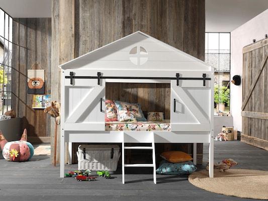 Spielbett als Haus in Weiß