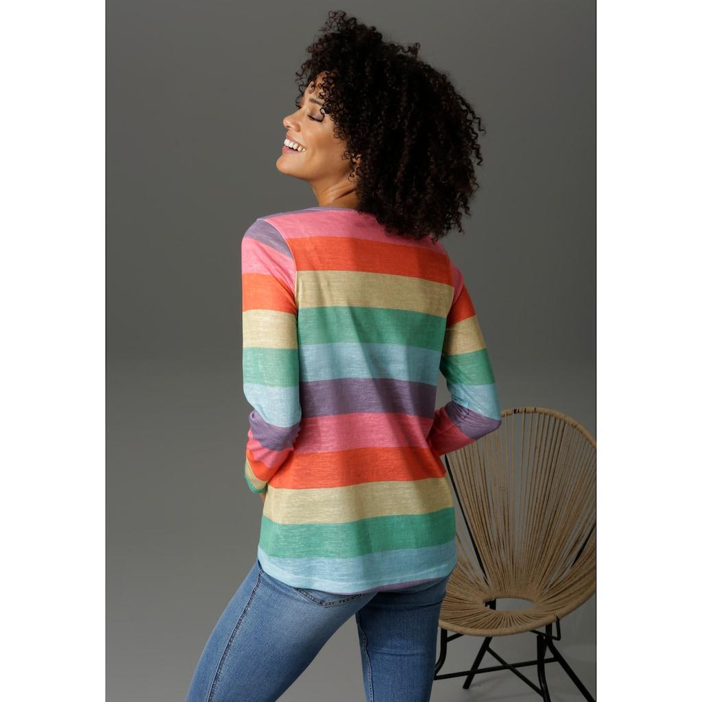 Aniston CASUAL Langarmshirt, mit farbstarken Streifen