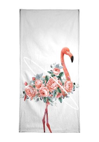 Juniqe Handtuch »Flamingo«, (1 St.), Weiche Frottee-Veloursqualität kaufen