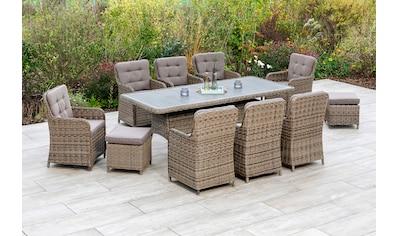 MERXX Gartenmöbelset »Seattle«, (11 tlg.), 8 Gartensessel, 2 Hocker mit Auflagen, Tisch kaufen