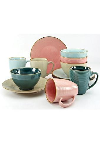 CreaTable Frühstücks-Geschirrset »Cosy Morning«, (Set, 12 tlg.), Kreisstruktur kaufen