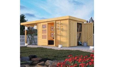 WOODFEELING Set: Gartenhaus »Retola 3«, BxT: 566x238 cm, mit Anbauschrank und Anbaudach kaufen
