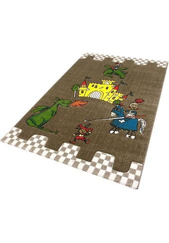Festival Kinderteppich »Momo Ritter«, rechteckig, 13 mm Höhe, Drache mit Ritterburg Motiv kaufen