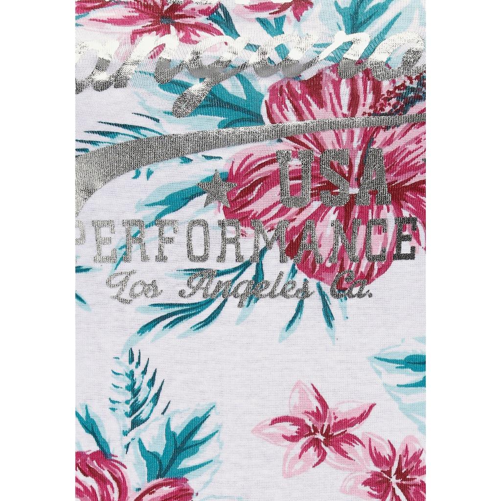 KangaROOS Trägertop, mit floralem Druck und breiten Trägern