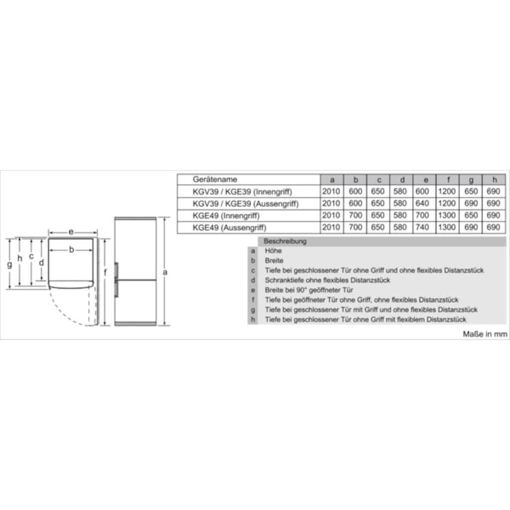 SIEMENS Kühl-/Gefrierkombination »KG39V2LEB«, iQ300