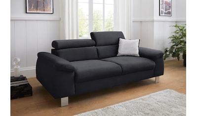 COTTA 3-Sitzer »Komaris«, inklusive Kopfteilverstellung, moderner chromfarbener Fuß kaufen