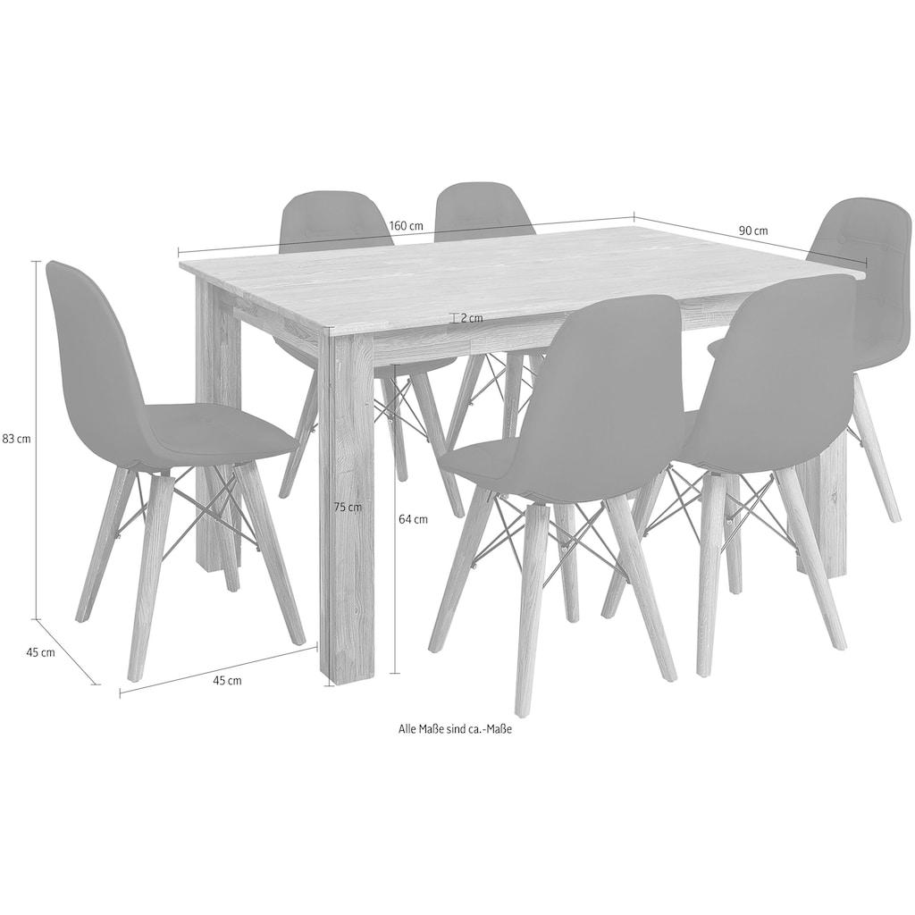 Home affaire Essgruppe »Ben«, (Set, 7 tlg.), bestehend aus 6 Stühlen und 1 Esstisch, Breite des Esstisches 160 cm