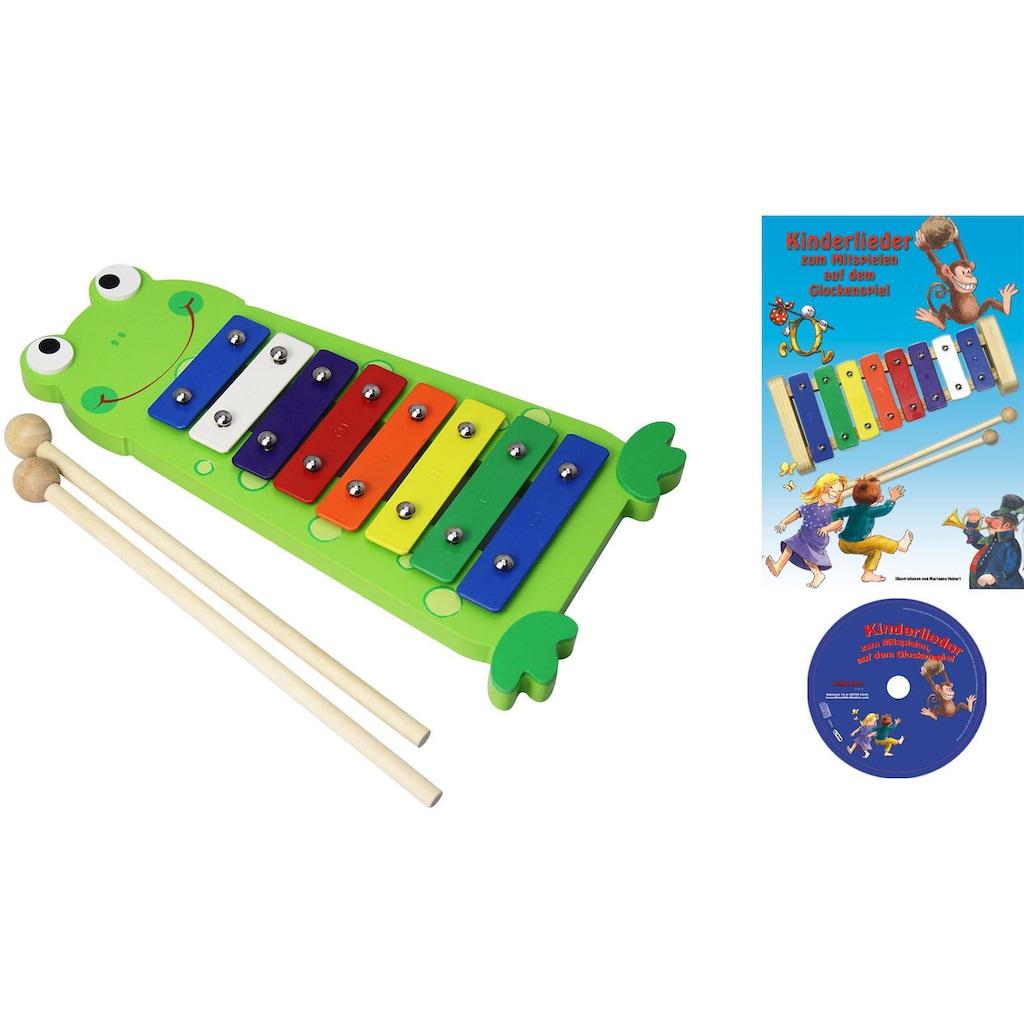 Clifton Spielzeug-Musikinstrument »Metallophon Frosch«, mit 8 Tönen und Kinderlieder CD, Karaoke CD mit Heft