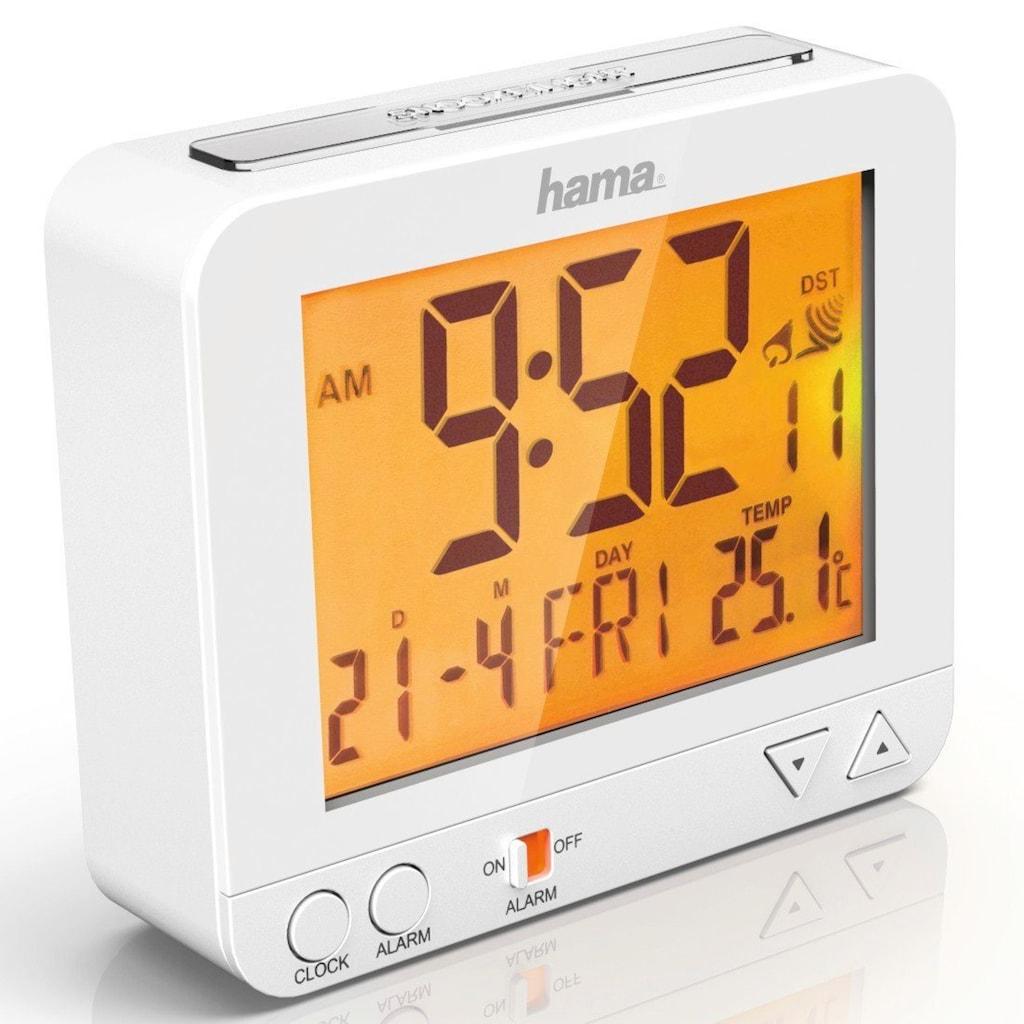 Hama Funkwecker RC 550, Nachtlicht Sensor, Thermometer, Weiß