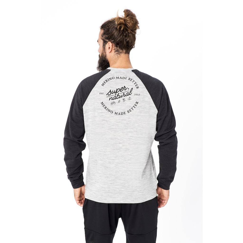 SUPER.NATURAL Sweatshirt »M SIGNATURE CONTRAST CREW«, bequemer Merino-Materialmix