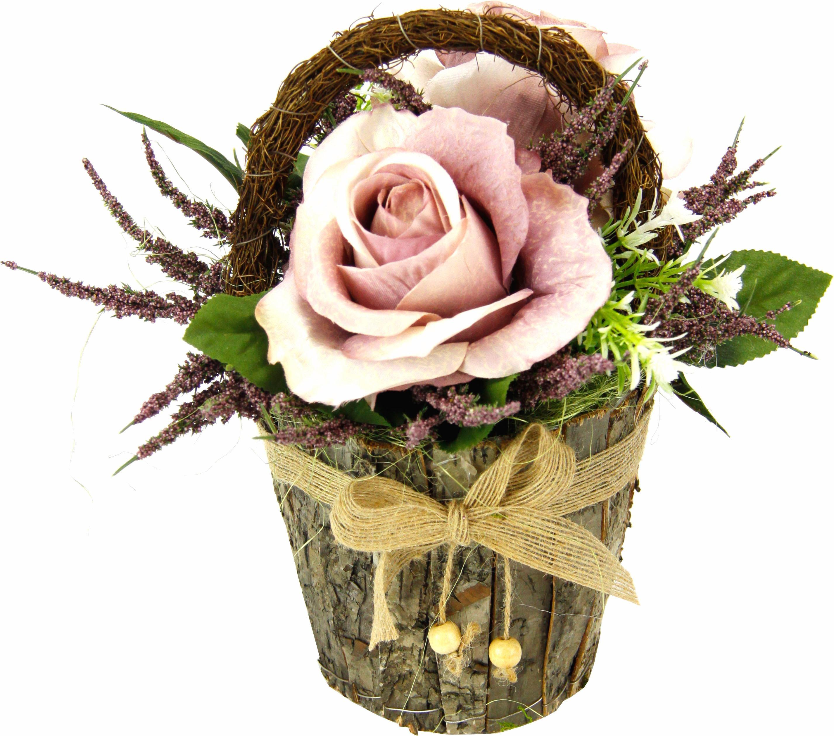 Kunstpflanze Gesteck Rosen in Rindentopf Technik & Freizeit/Heimwerken & Garten/Garten & Balkon/Pflanzen/Zimmerpflanzen