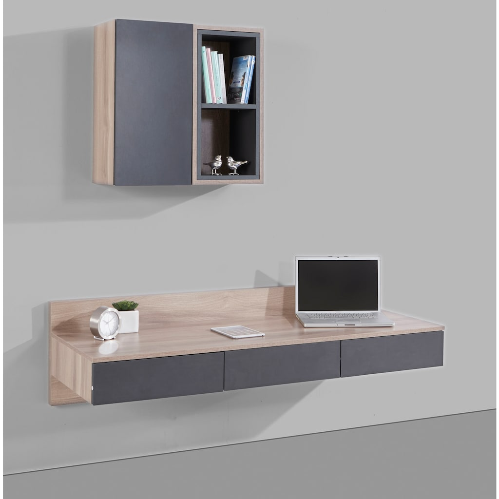 INOSIGN Wohnwand »Layland«, (Set, 3 St., bestehend aus 1 offenen Hängeregal, 1 geschlossenem Hängeregal und einem Schreibtisch), besteht aus 3 verschiedenen Möbelstücken, erstrahlt in schöner folierter Holz-Optik