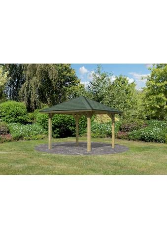 Karibu Pavillon »Bergen 1«, (Set), BxTxH: 338x338x290 cm, mit grünen Dachschindeln kaufen