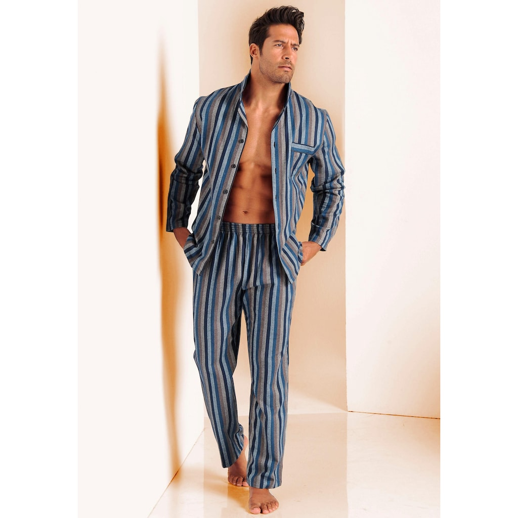 H.I.S Pyjama, weich aus Flanell im Streifendesign