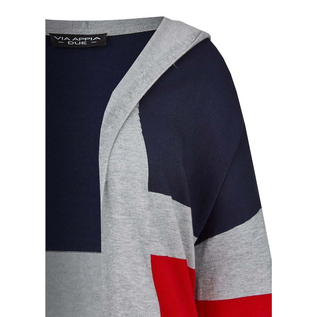 VIA APPIA DUE Trendige Long-Strickjacke mit Streifen-Muster Plus Size