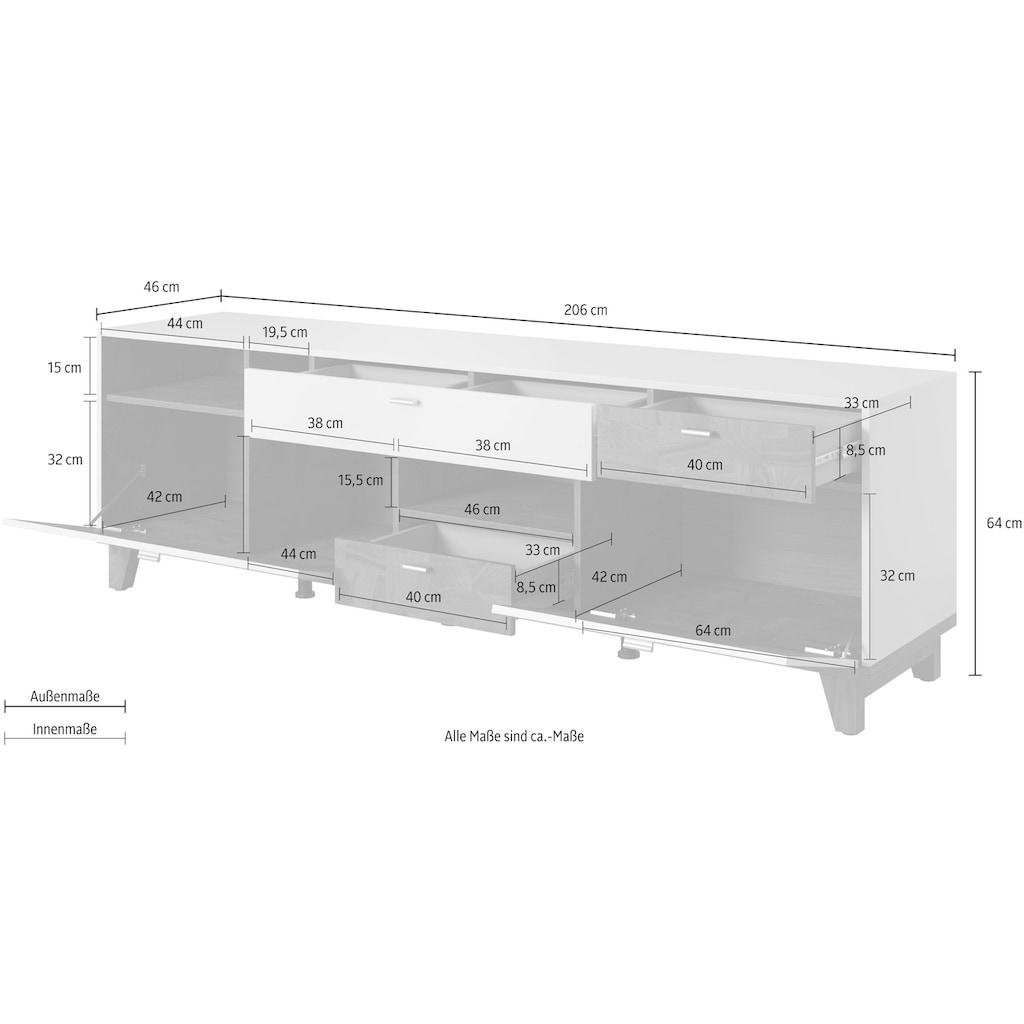 Helvetia Lowboard »Move«, Breite 206 cm
