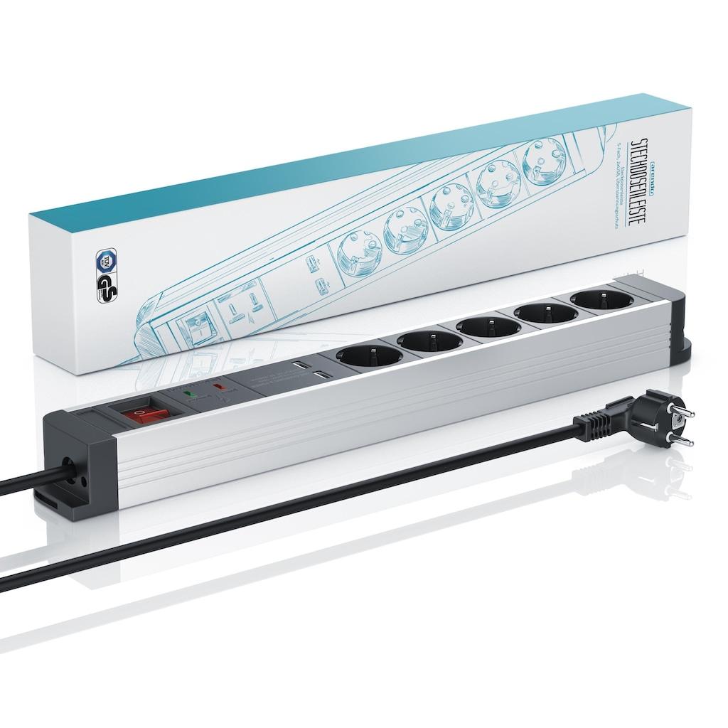 Arendo 5-fach Steckdosenleiste mit 2x USB-Ports (2000mA / 5V)