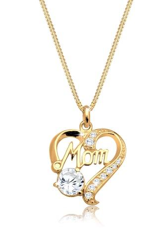 Elli Collierkettchen »Herz Mom Schriftzug Zirkonia 925 Silber« kaufen