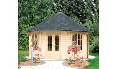 WOLFF FINNHAUS Holzpavillon »Palermo 4.5«, BxT: 534x534 cm, mit schwarzen Schindeln kaufen
