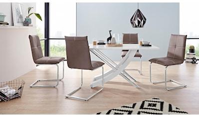Essgruppe »Kaleo/Claire«, (Set, 5 tlg.), mit 4 Stühlen und 1 Tisch weiß Hochglanz kaufen