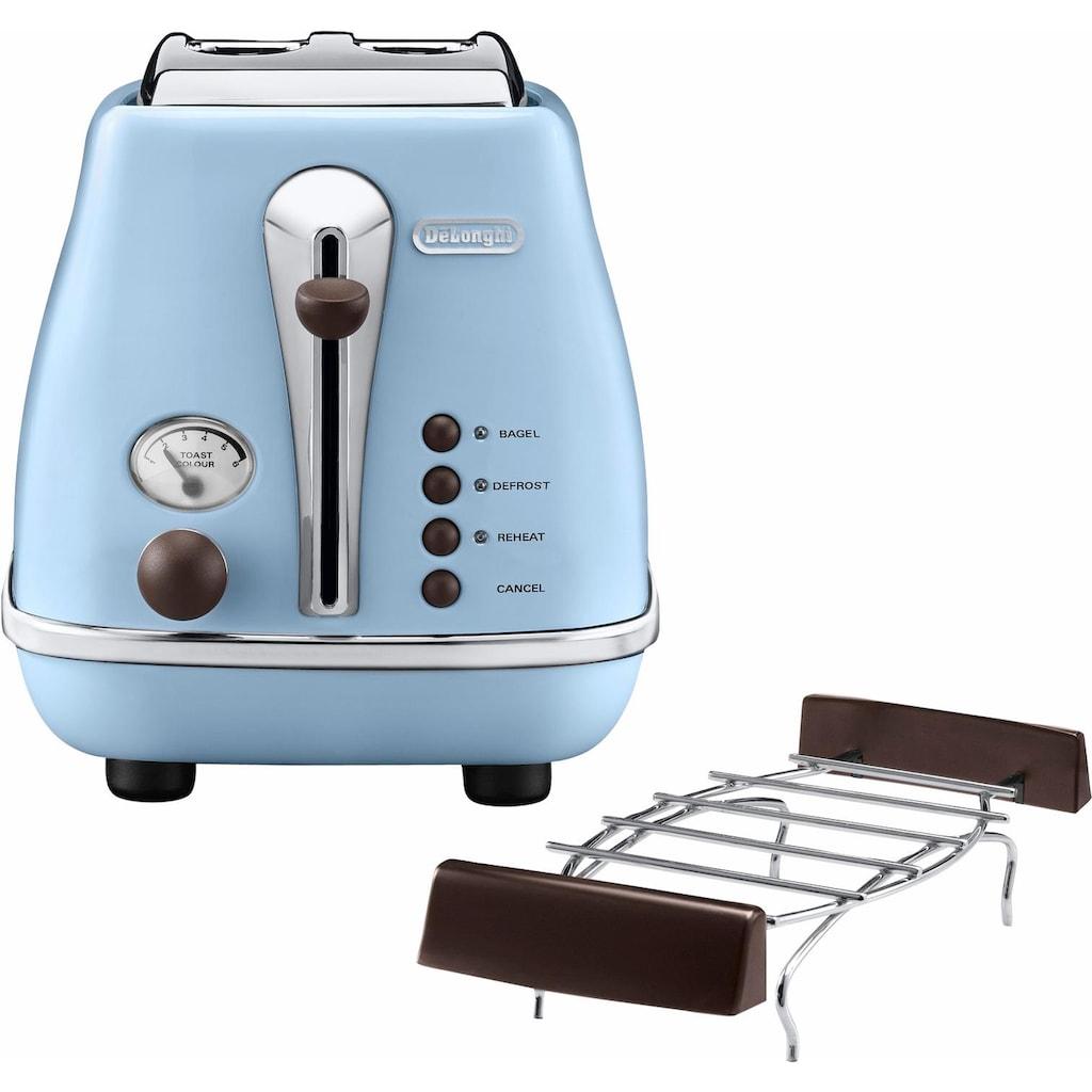 De'Longhi Toaster »Incona Vintage »CTOV 2103.BG««, 2 kurze Schlitze, 900 W, im Retro Look, azur