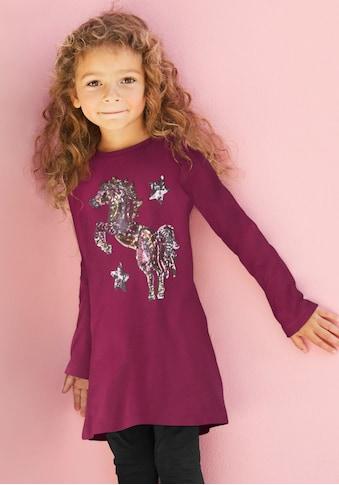 KIDSWORLD Langarmshirt, in langer Form mit schönem Pferdemotiv aus Pailletten kaufen