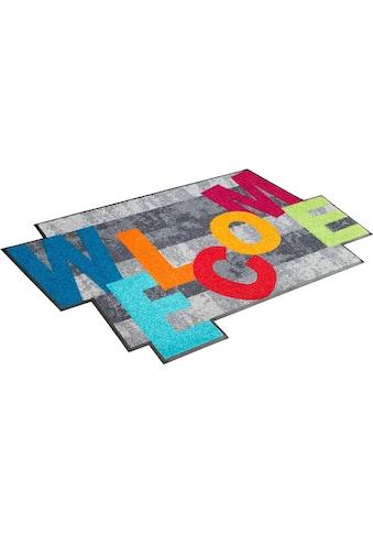 wash+dry by Kleen-Tex Teppich »Crazy Welcome«, rechteckig, 7 mm Höhe, Wohnzimmer kaufen