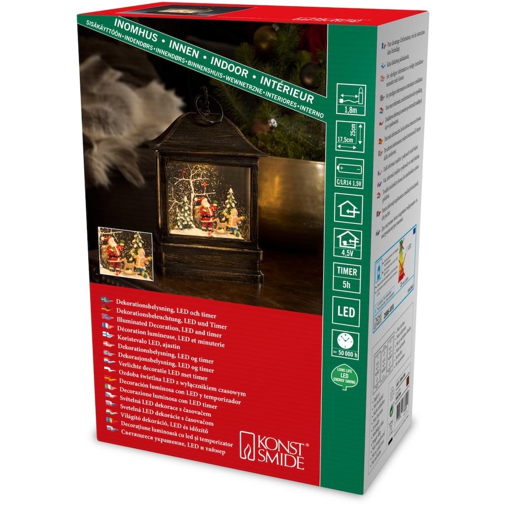 KONSTSMIDE LED Laterne »Schneelaterne mit Weihnachtsmann und Kind«, Warmweiß, wassergefüllt, mit Timer