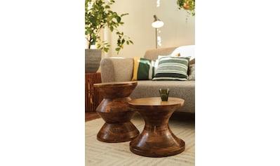 TOM TAILOR Hocker »T-WOOD STOOL HIGH«, dekorativer Hocker aus Mangoholz, mit Knopfdetail kaufen