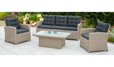 MERXX Loungeset »Salzano«, 15 - tlg.,2 Sessel, 3er - Bank, Tisch kaufen