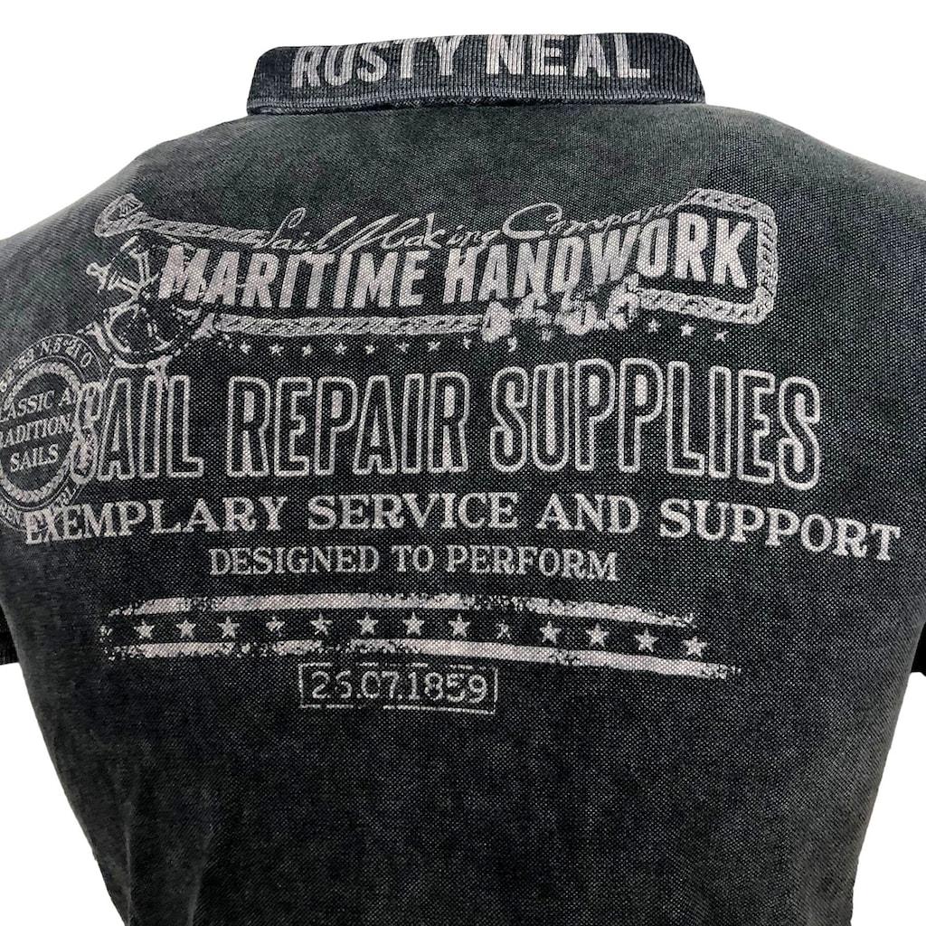 Rusty Neal Poloshirt mit coolem Frontprint